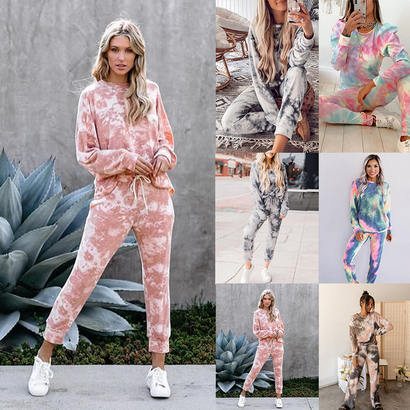 autumn and winter hot style women's tie-dye printing round neck long sleeve casual suit NSKX5926