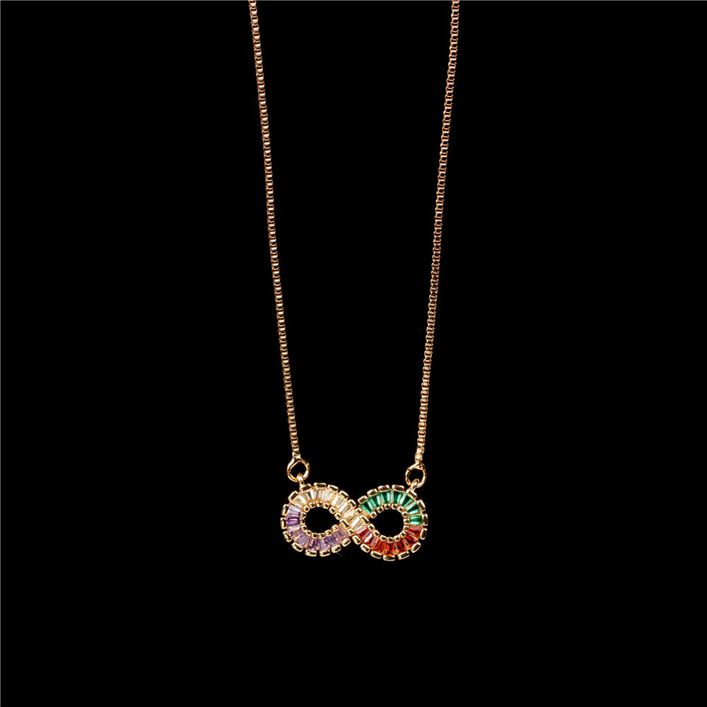 Fashion New Accessories Fashion Love 8 Shape Micro Inlaid Zircon Pendant Clavicle Chain Stainless Steel Necklace NHPY199747