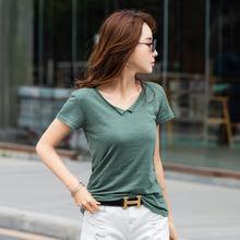 實拍領角卷邊竹節棉V領短袖T恤女 寬松舒適純棉大碼上衣