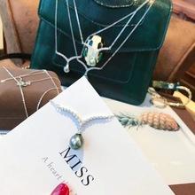DIY飾品配件 S925純銀V字套鏈項鏈女手工空托含墜鏈韓版珍珠配飾