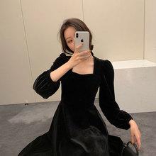 2020年秋装新款女装轻奢名媛小香风长裙炸街小众气质小黑裙连衣裙