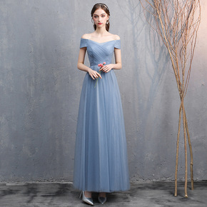 Bridesmaid dress women grey blue one shoulder fairy banquet dress evening party dresses