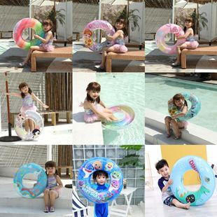 Factory stock inflatable dinosaur sun flower swimming ring thickened pvc heart-shaped inflatable swimming ring children seat ring