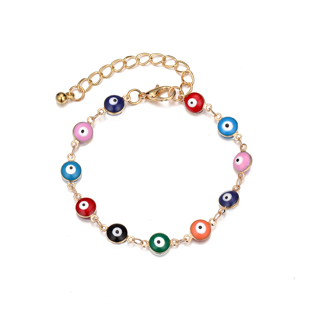 Fashion new colorful eye flower fish-shaped demon eye alloy bracelet NHOA243501