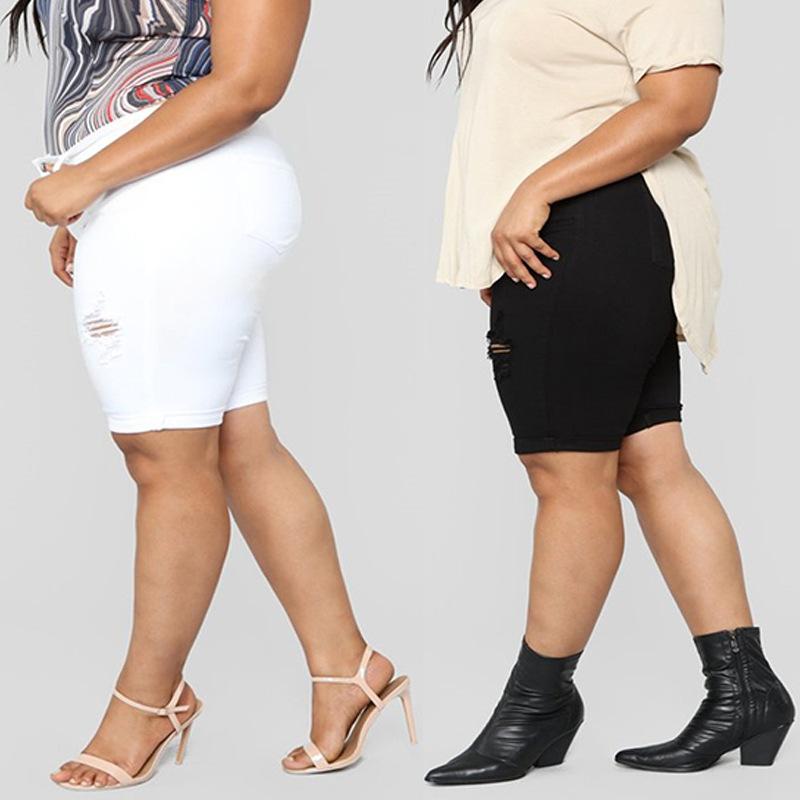 亚马逊热销款大码五分裤欧美南美中东非洲胖女人超大码直筒牛仔裤