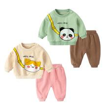 嬰兒運動兩件套 寶寶韓版衛衣秋裝套裝 嬰幼兒卡通衣服一件代發
