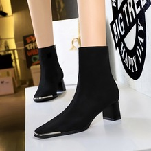 C829-1 European and American winter fashion metal iron head thick heel high heel suede sexy nightclub slim square head short boots