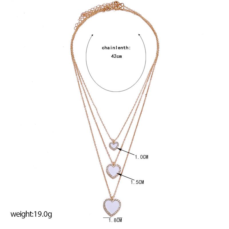 new  fashion simple long combination necklace retro trend diamond-set diamond love drop necklace nihaojewelry wholesale NHKQ233012