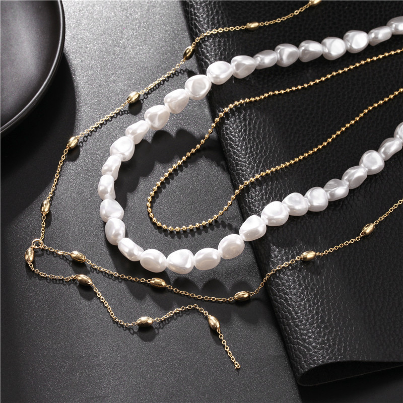 Wedding Banquet Necklace Luxury Pearl Necklace Lock Pendant Three-piece Necklace Wholesale NHZU199405
