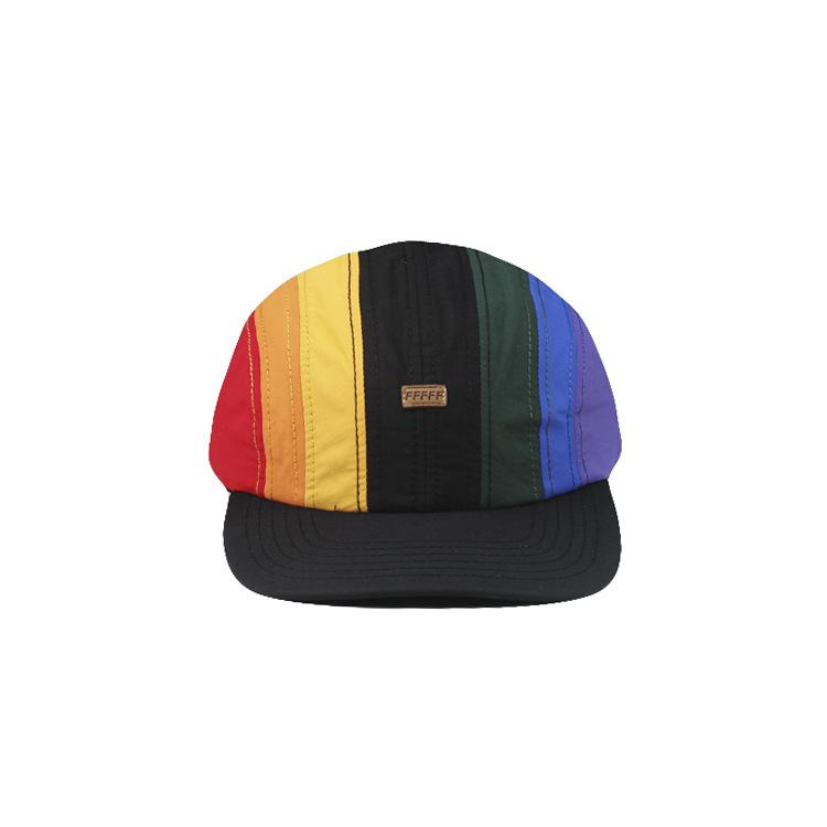 ins抽绳帽子彩虹色潮牌棒球帽机能鸭舌帽潮男女个性时尚网红街拍