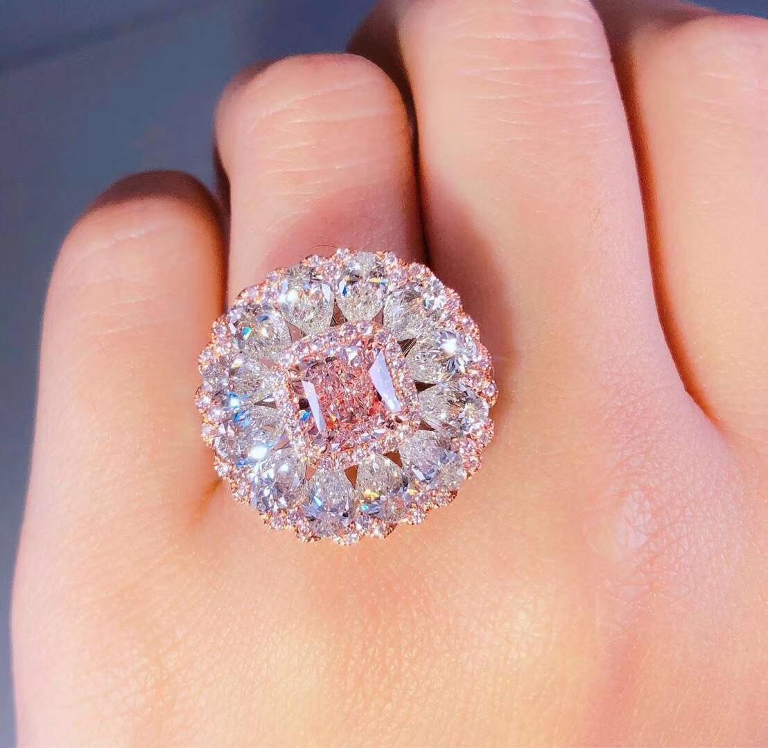1.55 ct مسحوق الماس يعني قلادة مزدوجة-استخدام وسادة مربع الوردي خاتم الماس الأصفر عيار 18 قيراط ديلوكس رصع الماس خاتم