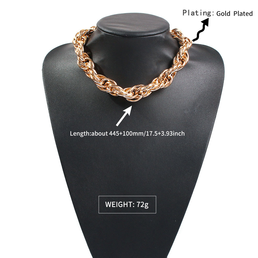 Exaggerated Punk Thick Chain Short Hip Hop Style Necklace NHMD272394
