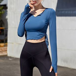 Small wave side strap sexy sports top women tight-fitting quick-drying running t-shirt yoga fitness long sleeves
