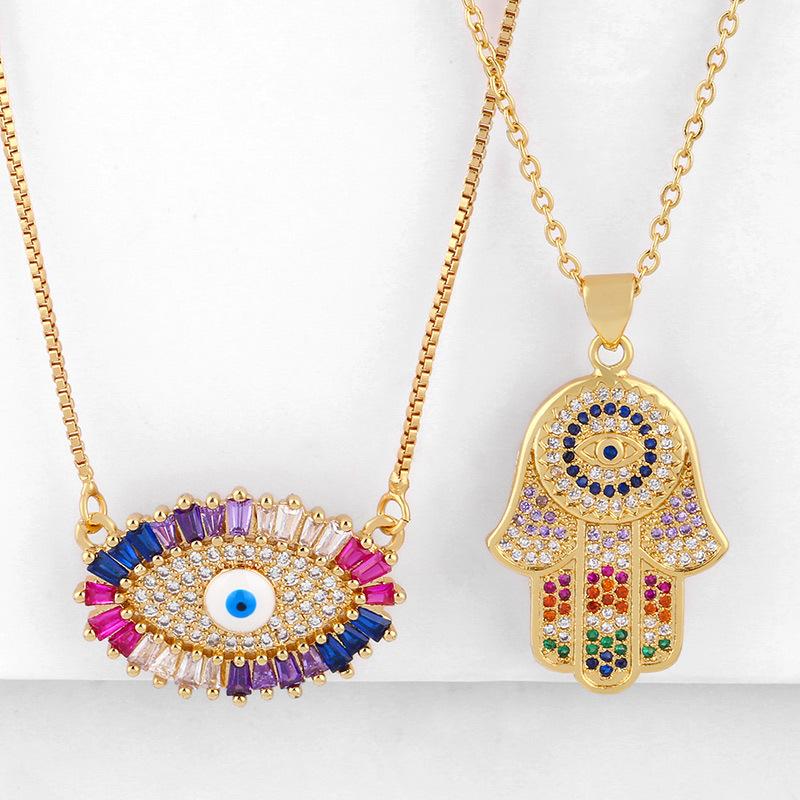 Fashion cheap jewelryNew AccessoriesFatima Hand Necklace Eye Micro Inlaid Zircon Necklace NHAS202590