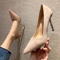 8111-9 han edition fashion pointed shallow mouth high-heeled shoes with web celebrity fairy wind diamond single shoe suede shoes
