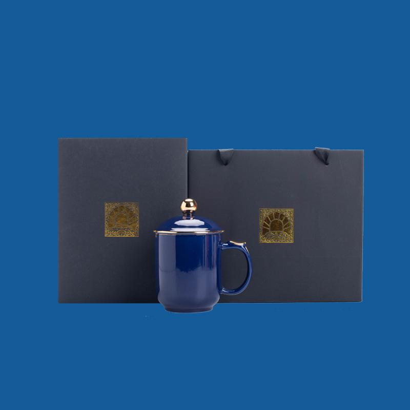 仿宋汝窑茶杯将军杯陶瓷开片瓷器钧窑青瓷办公个人水杯