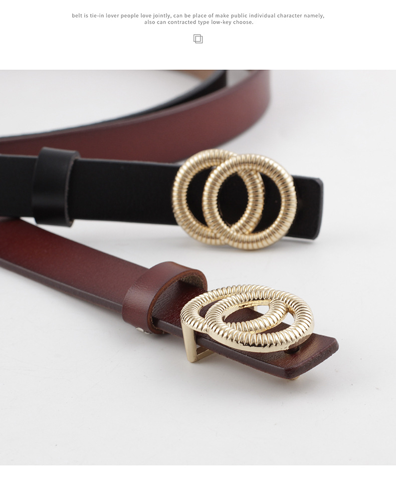 Double loop buckle small belt ladies plate buckle leather thin belt two-layer cowhide women's casual fashion belt NHPO202150