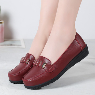 Ai Yihui women's shoes casual small leather shoes women's soft sole shallow mouth British peas shoes flat mother shoes