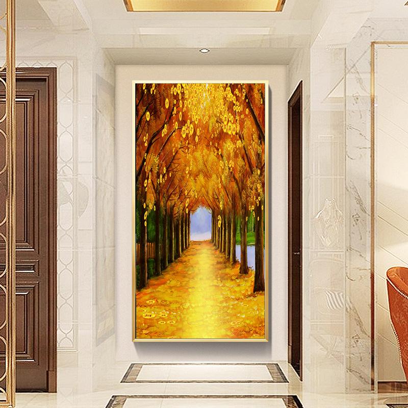 流水生财发财树玄关竖版装饰画中式招财挂画酒店过道走廊转角壁画