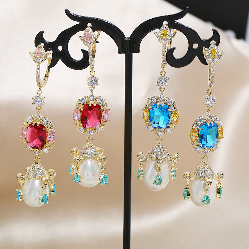 Vintage Palace Hollow Opal Pearl S925 Silver Needle Fashion Earrings NHKQ199043
