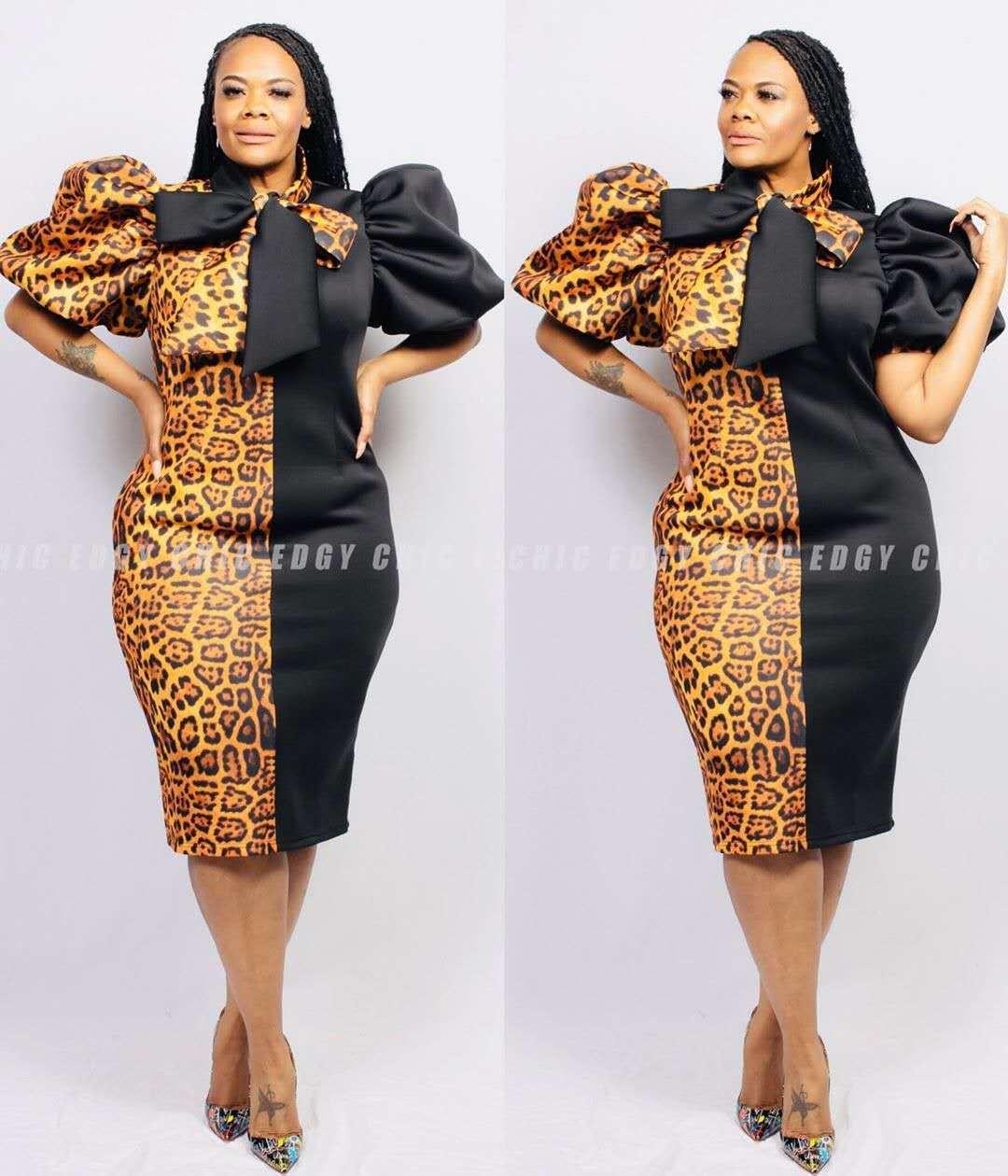 674款欧美加大码女装新款拼色豹纹印花胖女人肥婆装泡泡袖