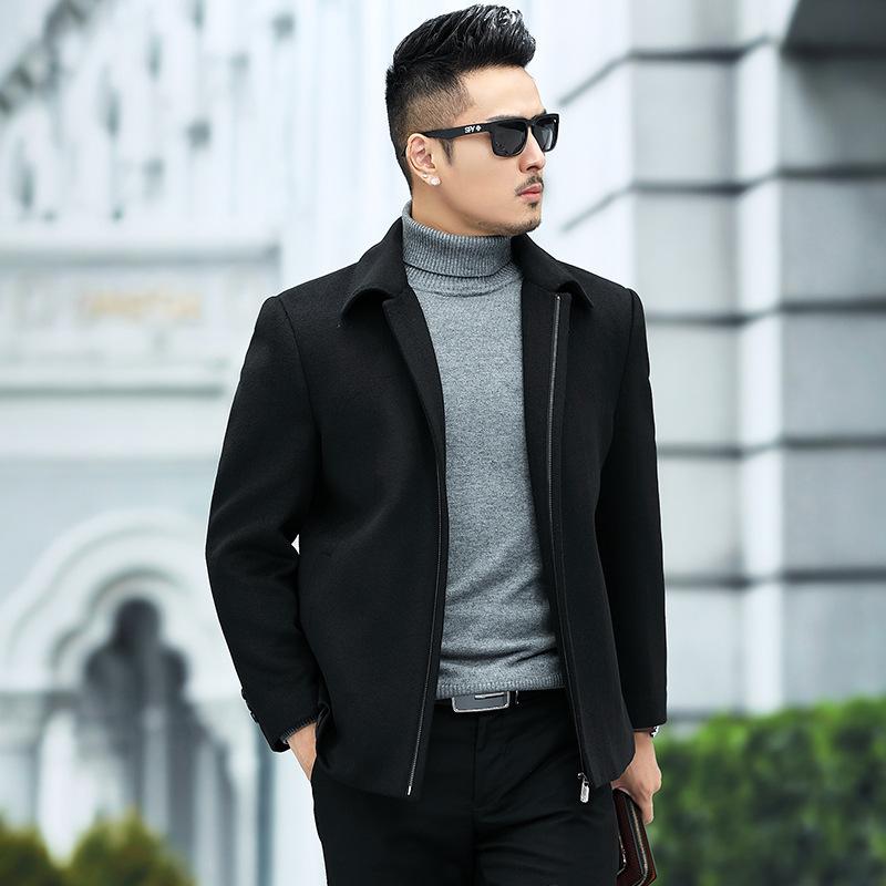 恒源祥羊绒夹克男秋冬中老年加厚翻领羊毛茄克干部衣服外套爸爸装