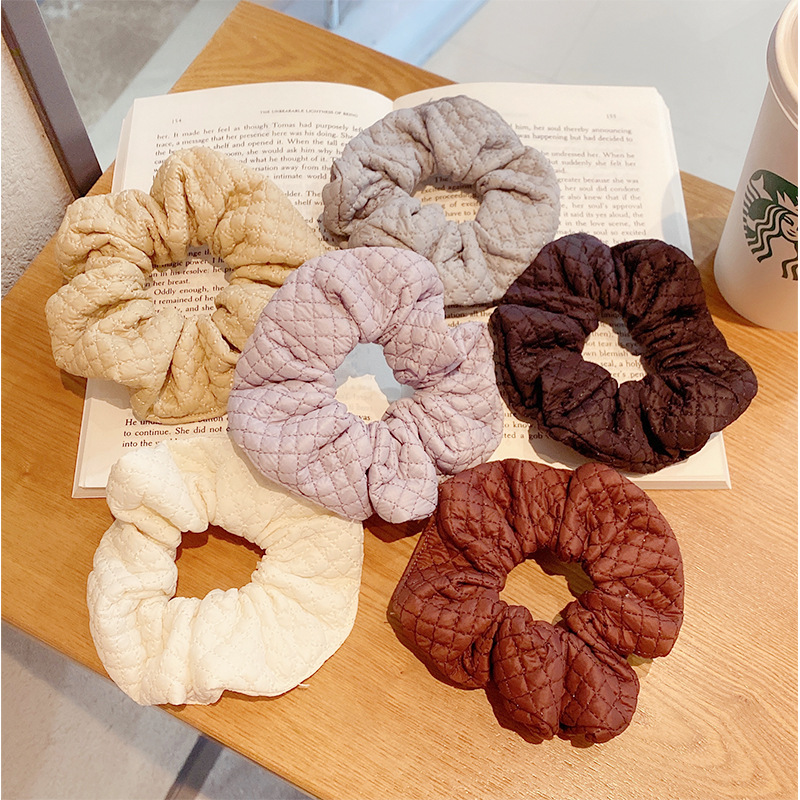 diamond  imitation leather solid color hair scrunchies  NHNA281002