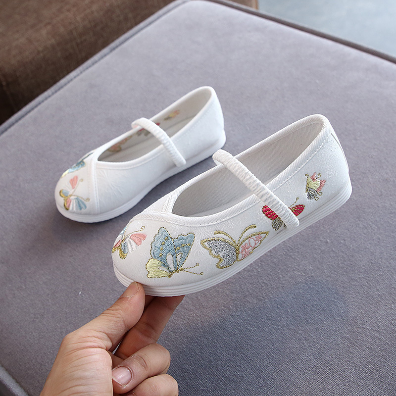 Girls kids pink Hanfu fairy shoes old Beijing cloth embroidered shoes for girls princess chinese folk dancing model show shoes for girl