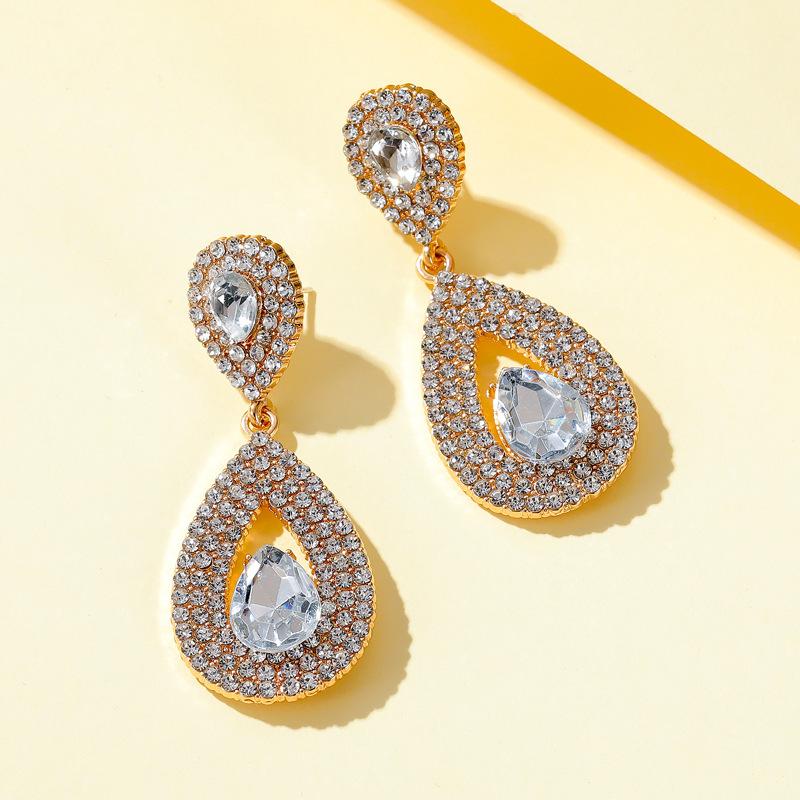 New luxury long earrings goddess super flash zircon water drop earrings crystal bridal earrings nihaojewelry wholesale NHMO213964