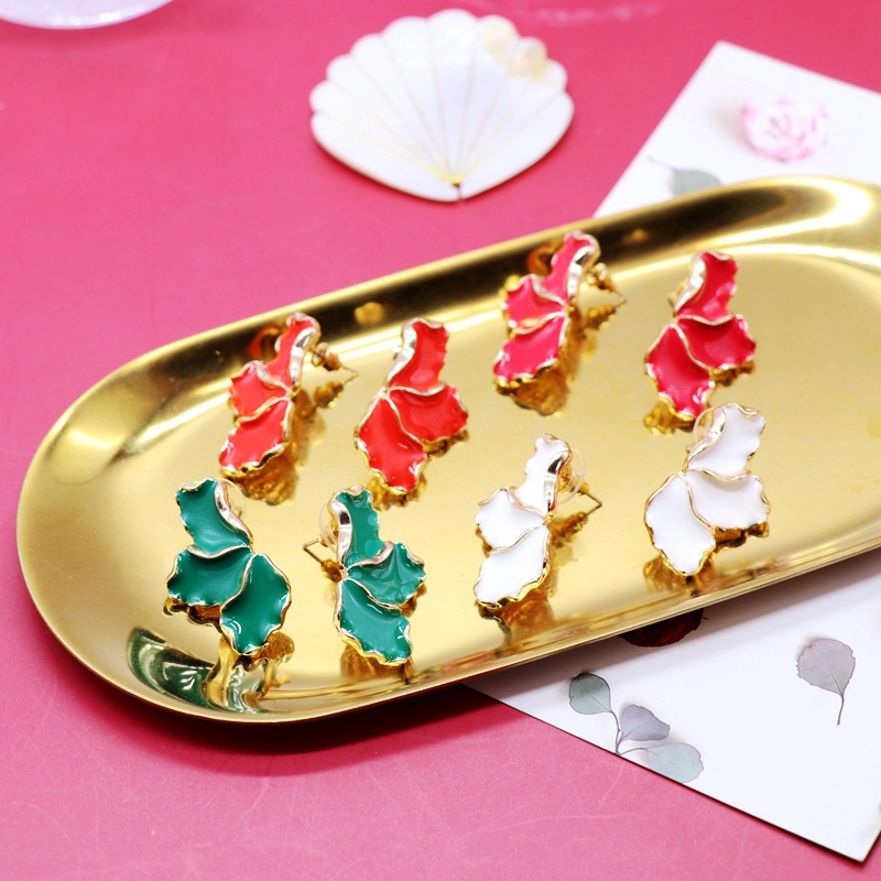 color drip glaze petalshaped square diamond flower heart silver needle earrings  NHOM271506