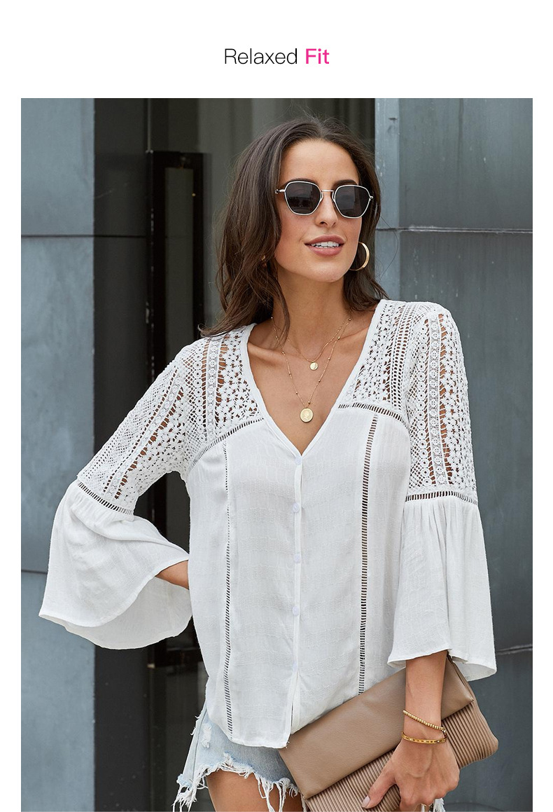 loose hedging hollow v-neck trumpet sleeve lace shirt  NSSI2415