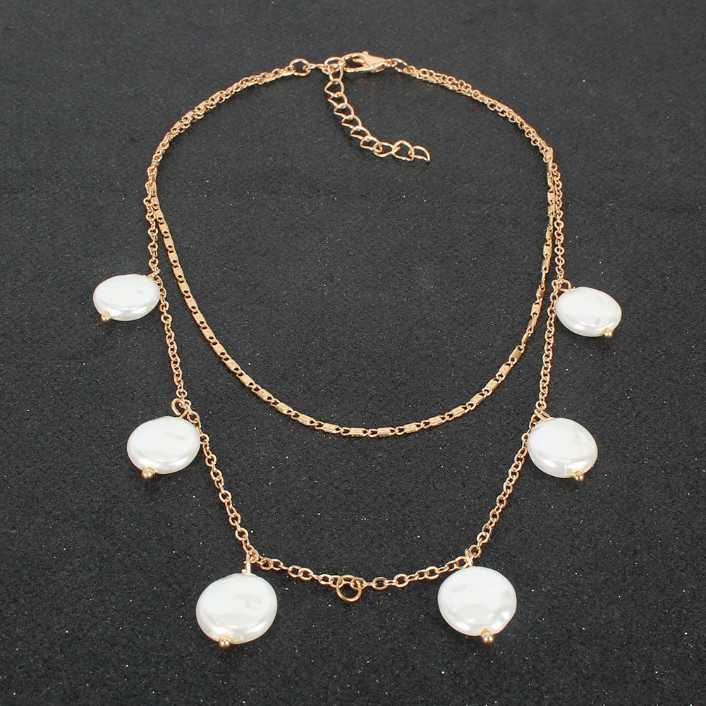 Fashion Simple Shaped Pearl Pendant Double Necklace For women NHCT245664