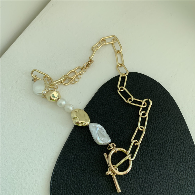 Korea Unique Baroque Pearl Necklace Metal Chain Buckle Pearl Chain Necklace wholesale nihaojewelry NHYQ220163