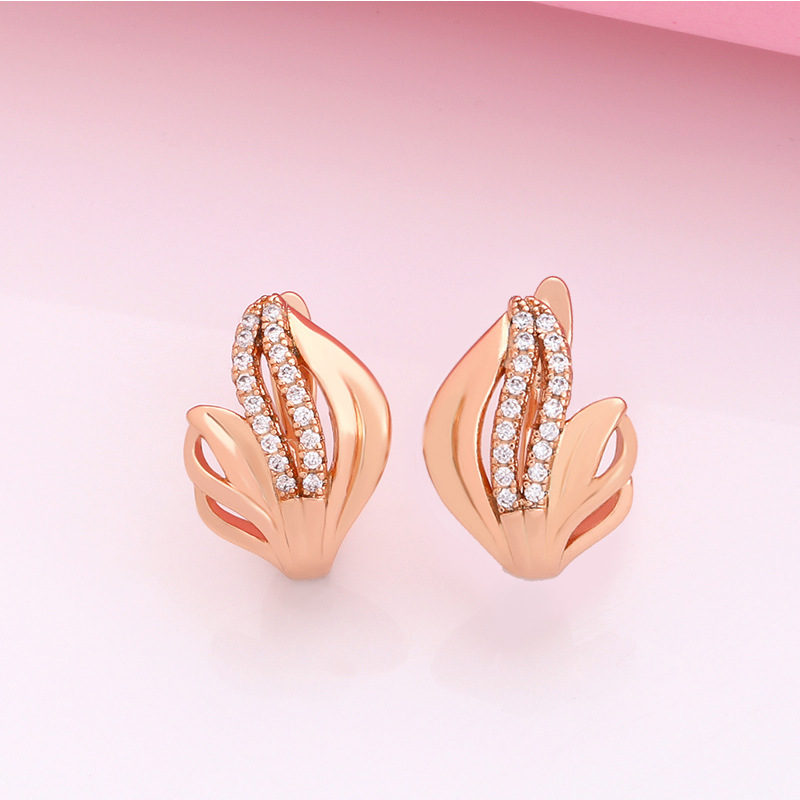 Vintage earrings women's color flower diamond earrings rose gold alloy earrings NHAS200964
