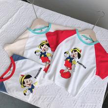 20夏款新款兒童韓版卡通棉t恤 男女童拼色袖貼身洋氣插肩打底衫潮