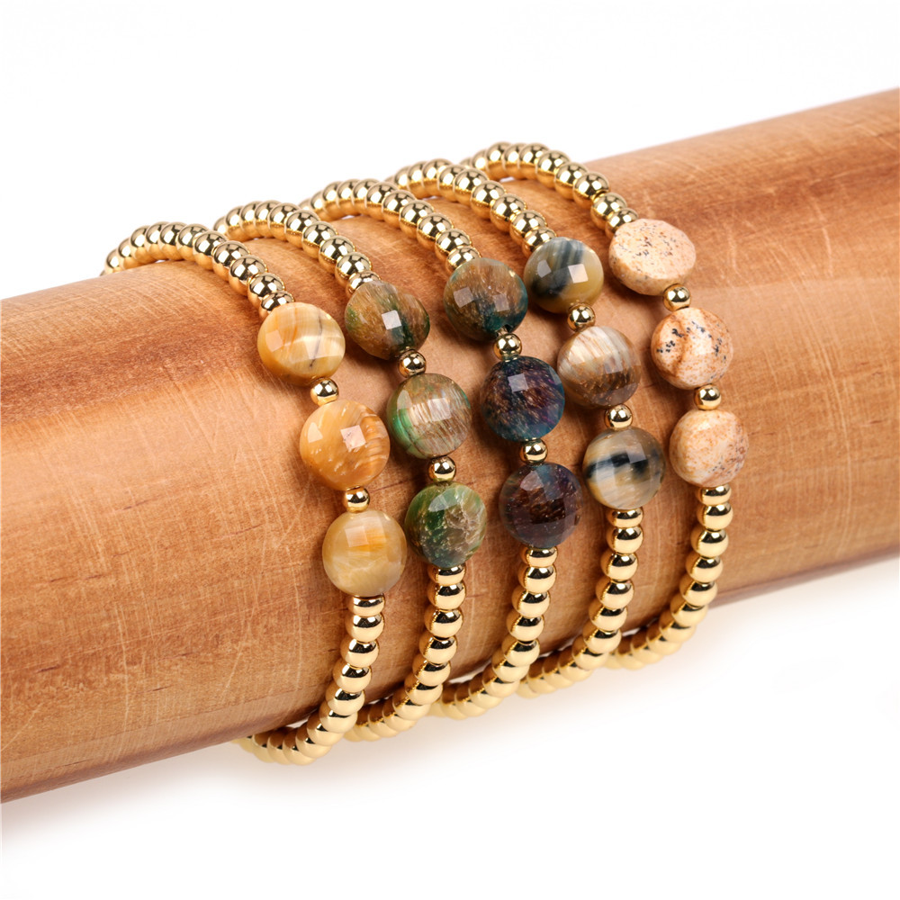 Popular personality new hand jewelry faceted tiger's eye woven bracelet copper plated gold-colored bracelet NHPY201001