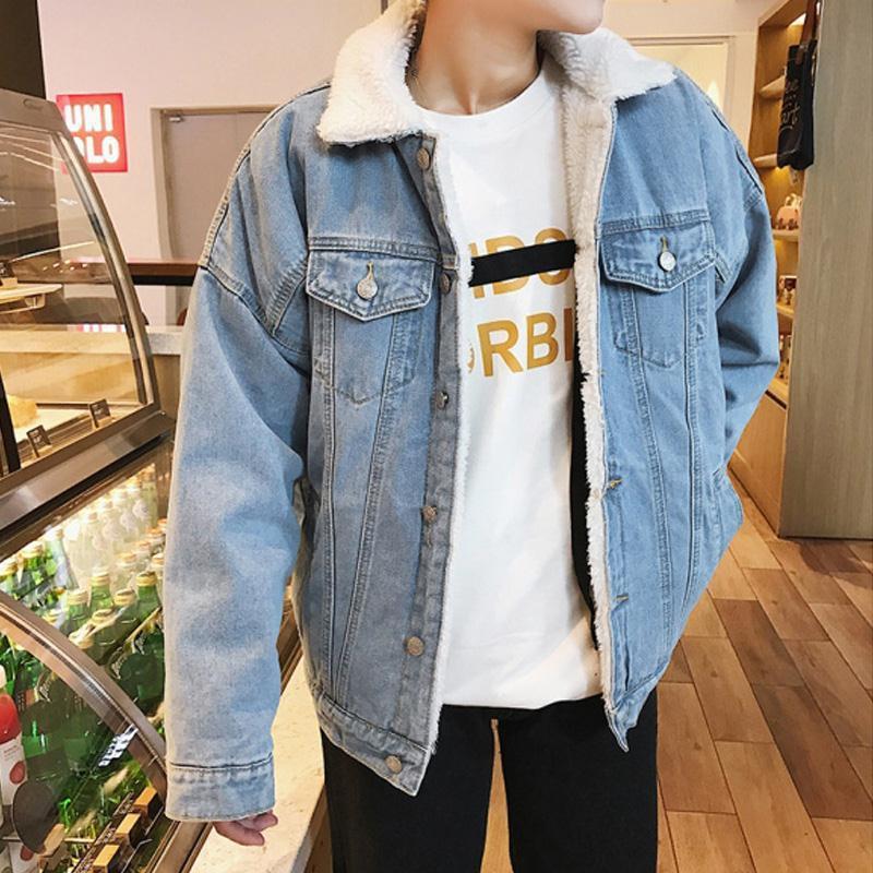 冬季复古加绒牛仔外套男装青年韩版加厚夹克上衣潮流大码外贸棉服
