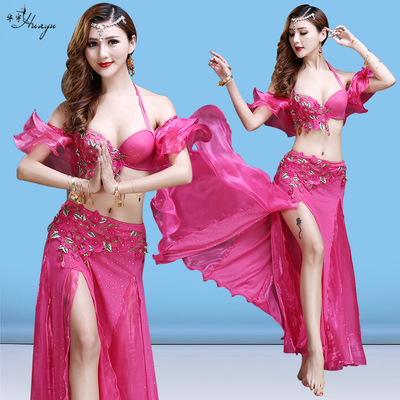 Indian dance belly dance bra bead embroidery top and skirts stage performance costume suit adult female belly dance clothing