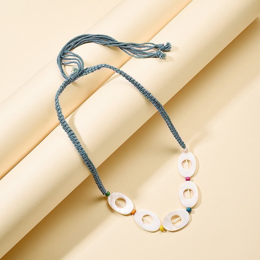 New fashion national wind color braided rope necklace creative resin disc fashion beaded necklace wholesale NHMD209196
