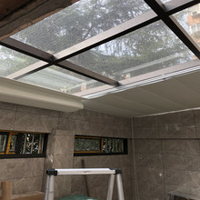 防曬遮陽簾玻璃遮光天棚簾頂電動隔熱陽光房防水折疊式天窗手動