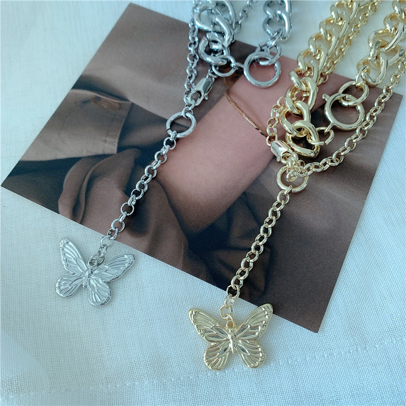 exaggerated double stacking butterfly necklace metal chain choker clavicle chain sweater chain wholesale nihaojewelry NHYQ225657
