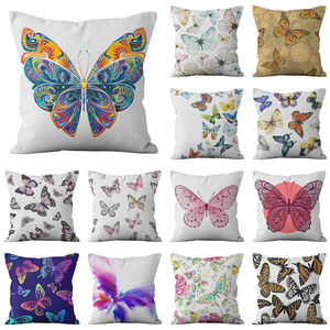 18'' Cushion Cover Pillow Case Butterfly printing pillow cover sofa cushion cover customization