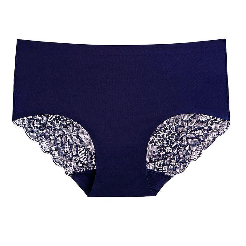 ខោទ្រនាប់នារី Women Casual Underwear Ice Silk One Piece Mid Waist Briefs Panties PZ706612