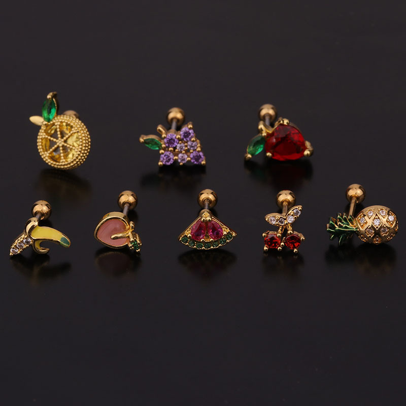 creative fruit   cute inlaid zircon stainless steel threaded earrings  NHEN260929