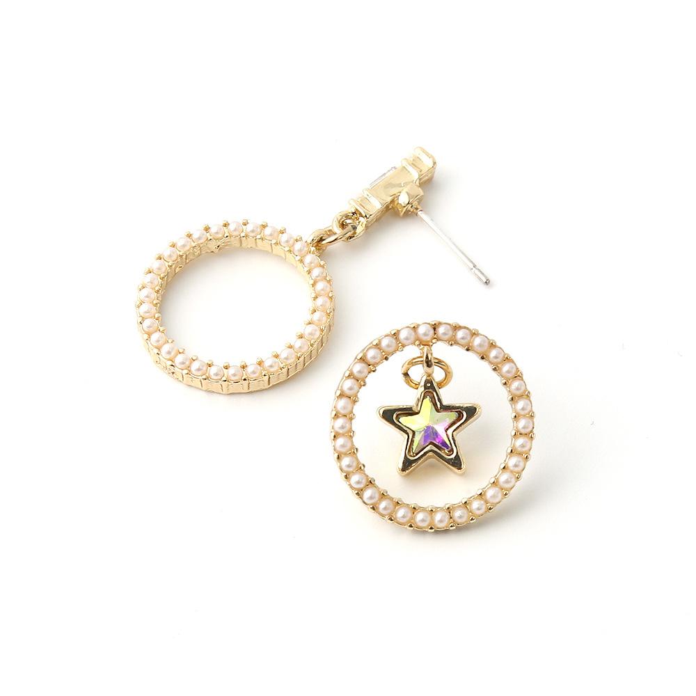 new S925 silver needle earrings round pearl small earrings fivepointed star asymmetric earrings wholesale nihaojewelry NHOA236583