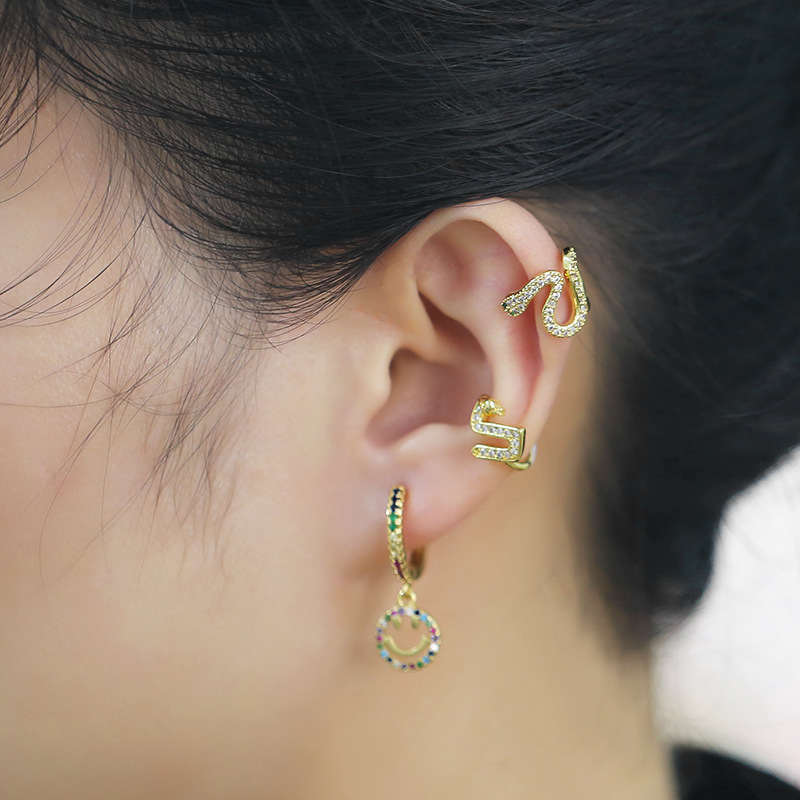 irregular ear bone clip snake-shaped ear clip geometric C-shaped diamond no pierced earrings wholesale nihaojewelry NHAS237202