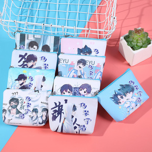 Camouflage school slag cartoon anime wallet male and female students storage bag small wallet PU leather fashion printing coin purse
