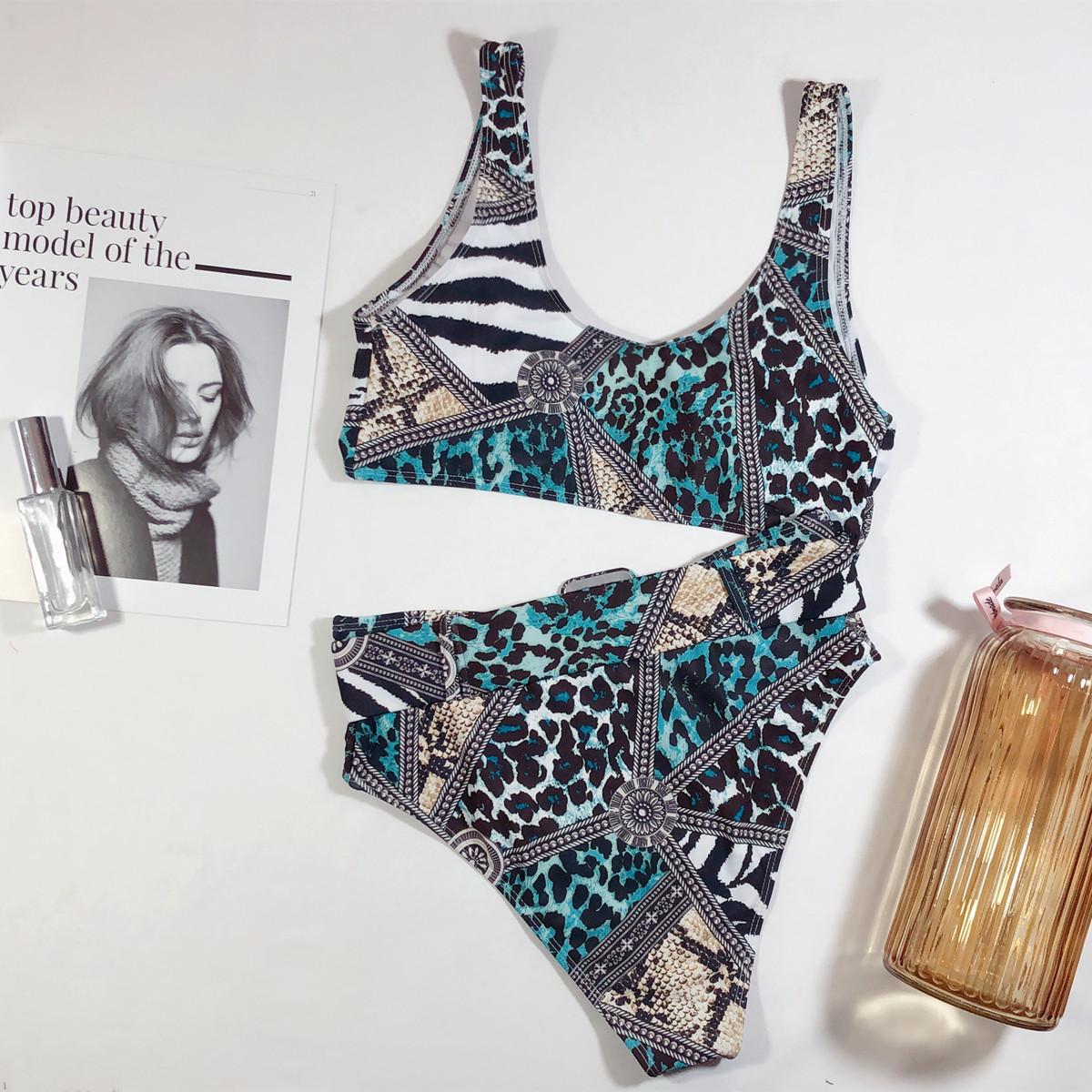 New Bikini Bikini U-neck Snake Print Swimsuit Lady Split Bikini NHDA206248
