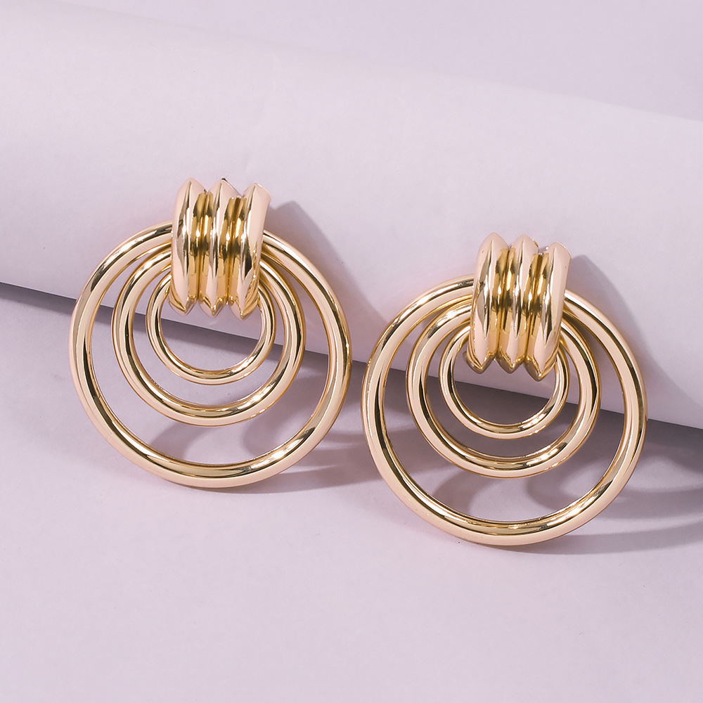 fashion style new gold multilayer metal irregular earrings  NHMD355596