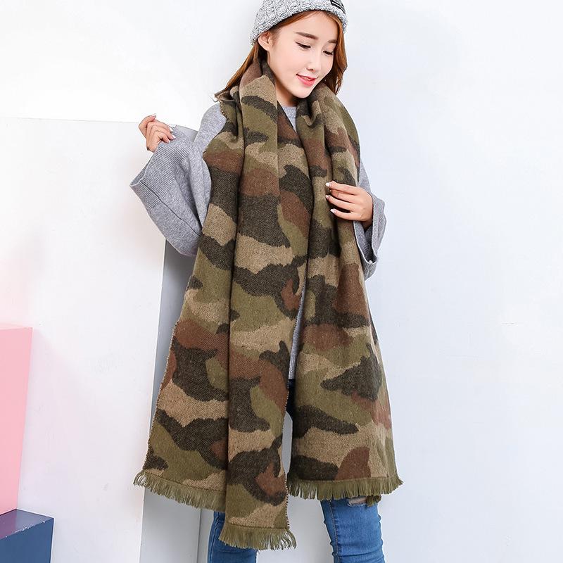 迷彩围巾女冬季学生韩版百搭毛线针织男围脖女冬长款加厚保暖情侣